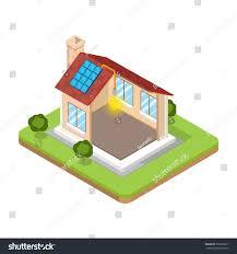 Energy Efficient Roof Design Flat Isometric Modern Alternative Energy Efficient Stock