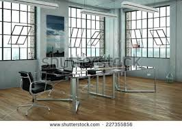 glass desk for office. office in a loft with glass desk and chairs 3d rendering for g