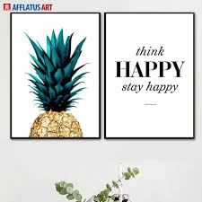 Us 34 46 Offgolden Pineapple Happy Quotes Wall Art Canvas Painting Nordic Posters And Prints Wall Pictures For Living Room Dining Room Decor In