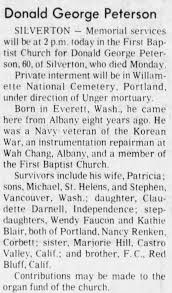 Obituary for Donald George Peterson (Aged 60) - Newspapers.com