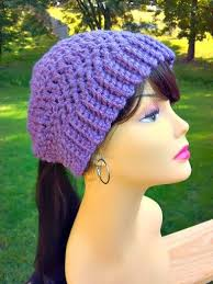 Ponytail Hat Crochet Pattern Unique Hand Crocheted Womens Ponytail Hat In Dusty By FromYourNeckUp