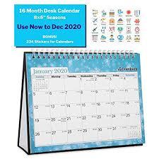 Small 8x6 Desk Calendar 2020 Seasons Use Now To December 2020 16 Months Flip Desktop Counter Top Calendar With Stickers For Calendars For