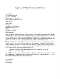 Payroll Administrator Cover Letter Cover Letter Template For Payroll Administrator