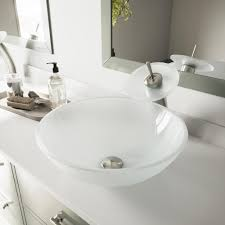 brushed nickel sink. Beautiful Brushed VIGO Glass Vessel Sink In White Frost With Waterfall Faucet Set Brushed  Nickel On K