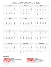 Calendario Bolivia Año 2015 Feriados 2015