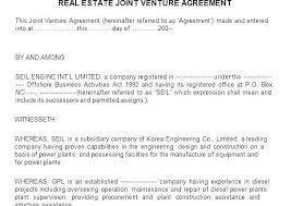 Construction Joint Venture Agreement Template Sample Letter