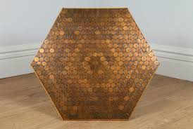 vintage hexagonal oak copper penny coffee table circa 1970