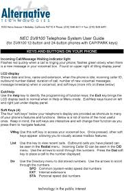 Nec Phone Blinking Red Light Nec Sv8100 Telephone System User Guide For Sv Button And 24