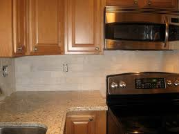 Subway Tile Kitchen Backsplash Natural Wood Finish Cabinets With A Subway Tile Backsplash I Love