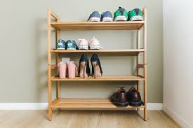 Seven pairs of shoes placed across four shelves on our runner-up pick for  best