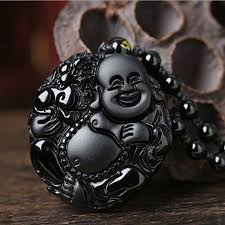 to enlarge lucky amulet natural black obsidian carving happy buddha pendant