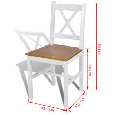 Esszimmerstühle 2 Stk Holz Weiss Und Natur