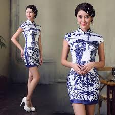 Amazing Blue Pottery Print Modern Qipao Asian Inspired Chinese Sheath Free  Home Designs Photos Fiambrelomitocom