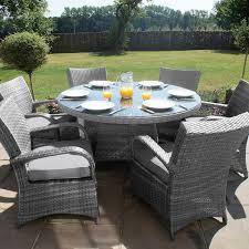 maze rattan garden furniture texas grey 6 seater round table set