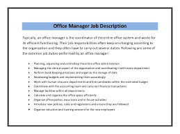 Gallery Of Office Assistant Job Description Sample Office Manager