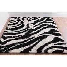 plush black and ivory zebra animal print super thick area rug 3 3
