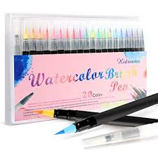 Amazon.com: Hidreams <b>20 Colors</b> Watercolor Markers Brush Pen ...