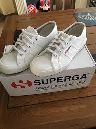 superga 2750 white leather trainers size 5 uk