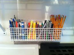 organize office space. space saver old dishwasher pieces to organize office and school supplies