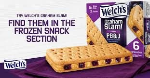 welchs graham slam frozen pb j between two graham ers find them in the frozen snack aisle