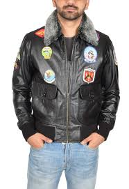 mens pilot leather jacket aviator top style vintage badges black er coat leo