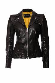 d squared dsquared2 black leather biker jacket in size 40it xs
