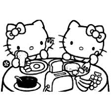 hello kitty color sheets. Contemporary Color Kitty And Mimmy Having Breakfast Coloring Pages Hello With Color Sheets A