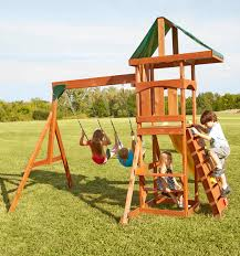 scrambler compact playset with two swings slide rockwall