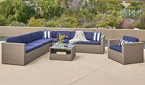 gray wicker conversation sofa set with