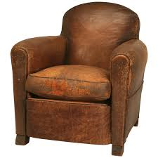 rugged handsome vintage french original leather club chair w new undercarriage for