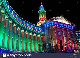 Colorado Lighting City And County Building Decorated With Christmas Lights