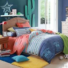 blue striped hippie trendy kids character bedding sets boys