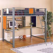 gray wooden bunk bed with long yellow desk combined with silver steel shelves above placed under the bed with blue red bedding set