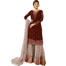 Indian Traditional Salwar Kameez Designs Maroon Color Georgette Embroidery Designer Indian Traditional Sharara Suit With Faux Dress Material Salwar Kameez Buy Sharara Salwar