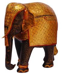bulk whole 8 hand carved kadam wood golden statue sculpture of elephant