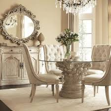 Dining Room Round Glass Top Table Contemporary Inside With White