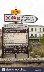 road signs brantome loire valley france stock photo royalty