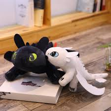 Us 10 62 15 Off 2pcs Lot 35cm Movie How To Train Your Dragon Toothless Dragon Toy Night Fury Light Fury Plush Toy Stuffed Anime Doll For Kids In