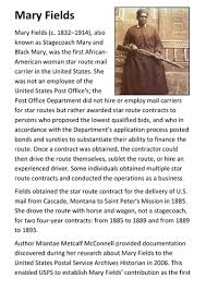 Mary Fields – Lady Stagecoach Driver Handout   Teaching Resources