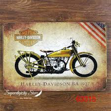 Harley Davidson Signs Decor Motorcycle Wall Mural Garage Oil Station Tin Signs Wall Art Decor 84