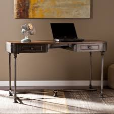industrial style office desk modern industrial desk. Add Factory-inspired Edge To Your Home Office With This Modernized Industrial Style Upton Desk. Dark Tobacco Wood And Gray Pipe Desk Modern E