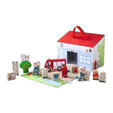 wooden fire station portable house toy set wooden fire station