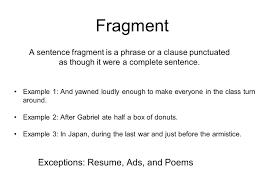 Resume Writing Sentence Fragments Resume For Study