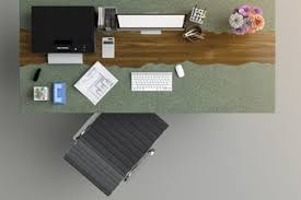 designer office desk isolated objects top view. Top View Of The Office Desk Designer Isolated Objects