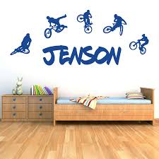 personalised name boys girls wall art sticker bmx extreme mountain bikes
