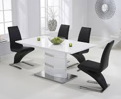 3 malibu white high gloss 160cm dining set with 4 black fusion chairs jpg