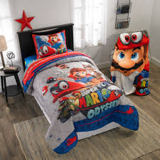 details about super mario odyssey caps off bed in a bag reversible kid s bedding set new