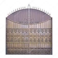 decorative wrought iron gates isolated over white background u2014 photo by blulake ornate gate t63 gate