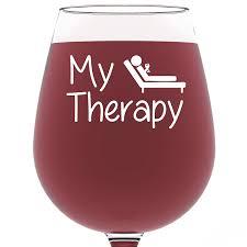 Amazon.com | My Therapy Funny Wine Glass 13 oz - Best Birthday ...