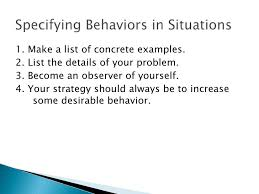 behavior list self directed behaviour change